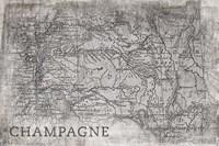 Champagne Map White Fine Art Print