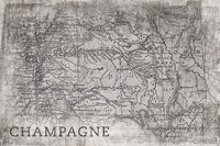 Champagne Map White Fine Art Print