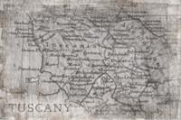Tuscany Map White Fine Art Print