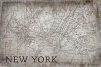 New York Map White Fine Art Print