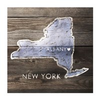 New York Rustic  Map Framed Print