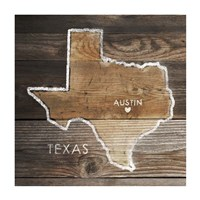 Texas Rustic Map Fine Art Print