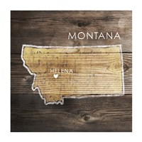 Montana Rustic Map Framed Print