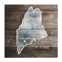 Maine Rustic Map Framed Print