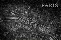 Map Paris Black Fine Art Print