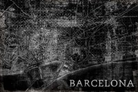 Map Barcelona Black Framed Print