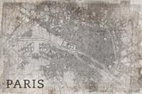 Map Paris White Fine Art Print