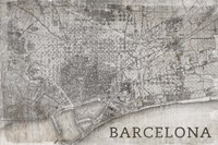 Map Barcelona Beige Fine Art Print