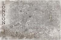 Map London White Fine Art Print