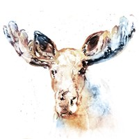 Watercolour Moose Fine Art Print