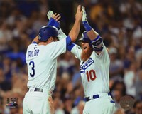 Chris Taylor & Justin Turner celebrate turner's 2 run Home Run Game 1 of the 2017 World Series Fine Art Print