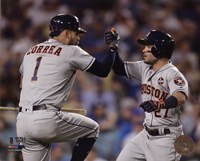 Carlos Correa & Jose Altuve Home Run celebration Game 2 of the 2017 World Series Fine Art Print