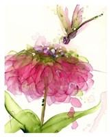 Dragonfly and Zinnia Fine Art Print