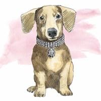 Glamour Pups IX on Pink Fine Art Print