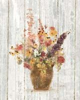 Wild Flowers in Vase I on Barn Board Fine Art Print