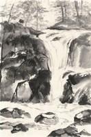 Sumi Waterfall IV Framed Print