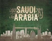 Riyadh, Saudi Arabia - Flags and Skyline Fine Art Print