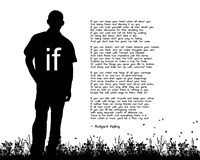 If by Rudyard Kipling - Man Silhouette White Fine Art Print