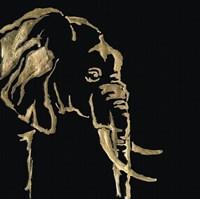 Gilded Elephant on Black Fine Art Print