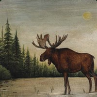 North Woods Moose II Fine Art Print