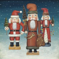 Santa Nutcrackers Snow Framed Print