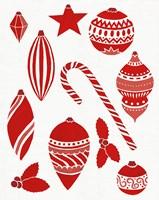 Christmas Otomi Tile III Framed Print