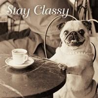 Cafe Pug Stay Classy V2 Fine Art Print