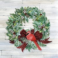 Holiday Wreath I on Wood Fine Art Print