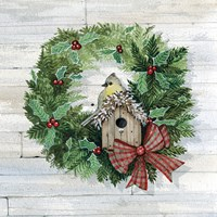 Holiday Wreath III on Wood Fine Art Print