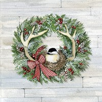 Holiday Wreath IV on Wood Fine Art Print
