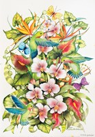 Orchid Splendor with Birds Fine Art Print