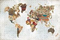 Pattern World Map Geo Background Fine Art Print