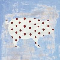 Modern Americana Farm I on Blue Fine Art Print
