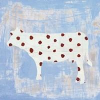 Modern Americana Farm IV on Blue Fine Art Print