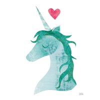 Unicorn Magic II Heart Sq Green Framed Print