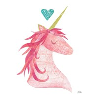 Unicorn Magic II Heart Sq Pink Fine Art Print