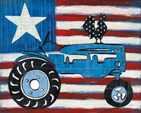 Modern Americana Flag with Tractor Fine Art Print