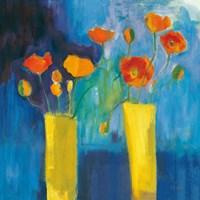 Cadmium Orange Poppies on Blue v2 Fine Art Print