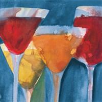 Four Mixed Drinks Light Blue Fine Art Print