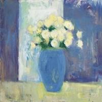 Ranunculi in Blue Vase Fine Art Print