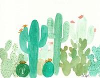 Green Cactus Landscape Fine Art Print