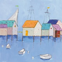 Boat House Row Dark Blue Sky Fine Art Print