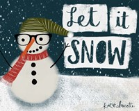Let It Snow Hipster Snowman Fine Art Print