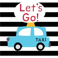 Let's Go - Bright Blue Taxi Fine Art Print