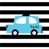 Bright Blue Taxi Fine Art Print