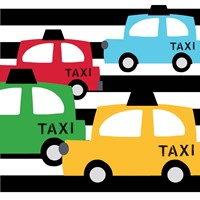 Bright Multi Taxis Fine Art Print
