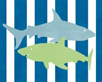 Blue and Green Shark III Fine Art Print