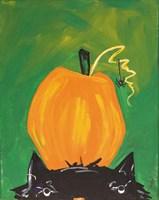 Cat and Pumpkin Fine Art Print