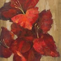 Vivid Red Gladiola on Gold Crop Framed Print