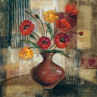 Poppies in a Copper Vase I Fine Art Print